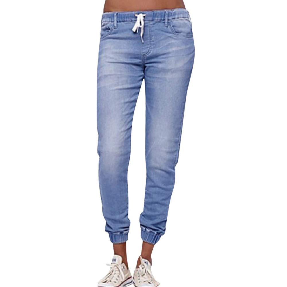 Kirbyates Pants Women's Autumn Plus Size Elastic Loose Denim Casual Trousers Drawstring Cropped Jeans