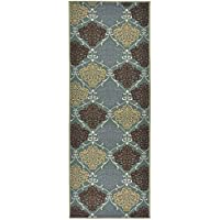Custom Size Damask Roll Runner 26 in Wide x Your Length Choice Slip Resistant Rubber Back Area Rugs and Runners (Aqua Blue Green, 12 ft x 26 in)