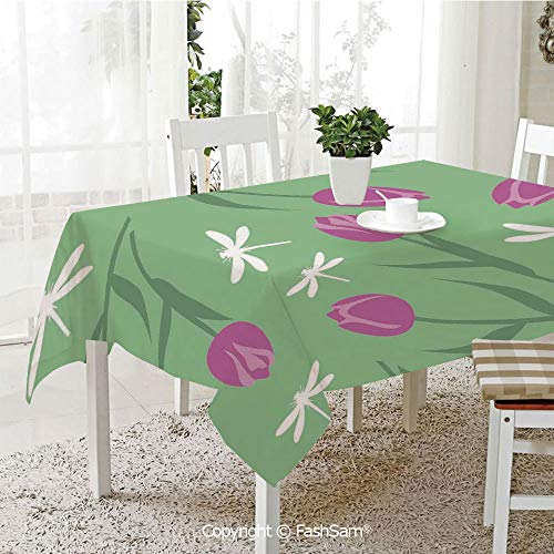 AmaUncle 3D Dinner Print Tablecloths Tulips and Dragonflies
