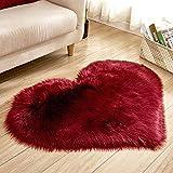 Euone  Christmas, Wool Imitation Sheepskin Rugs Faux Fur Non Slip Bedroom Shaggy Carpet Mats Area Rug (H, 40 x 50 cm)