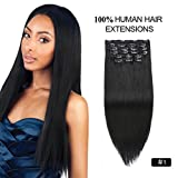 Clip on Hair Extensions Full Head, Re4U 20inch Silky Straight 10 pieces Remy Clip in Colored Extensions 180grams Double Weft Human Hair (20' 10pcs 180g #1 Jet Black)