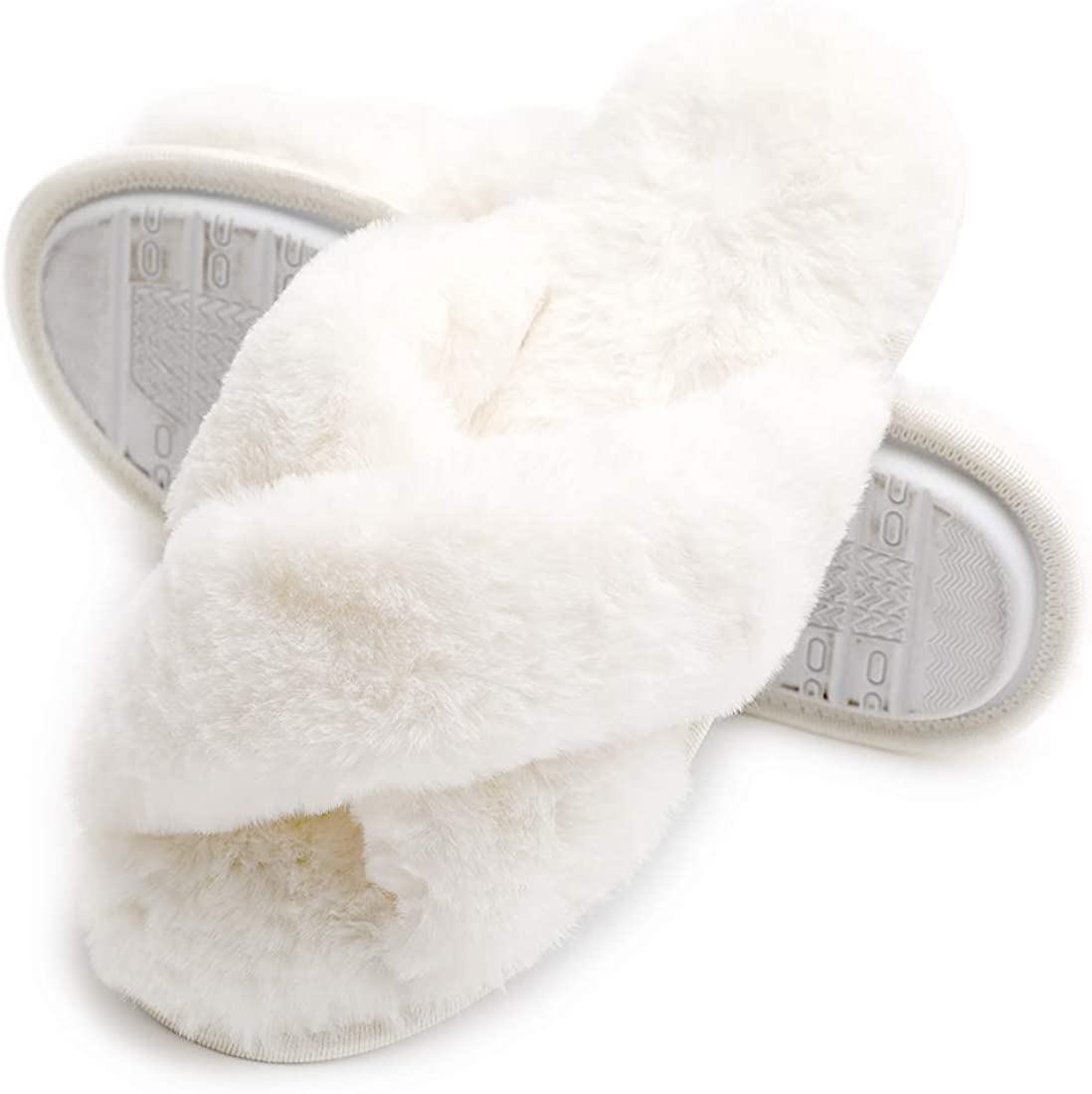 Women's Fuzzy Faux Fur Slipper with Memory Foam with Memory Foam Slides for Indoor Outdoor