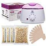 Makartt Waxing Wax Warmer Kit Melter Hair Removal Set with FDA Approved 4 Bags Hard Wax Beans and 10 Wax Applicator Sticks
