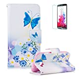 LG K4 Case [with Free Screen Protector] Funyye Colorful Scratch Resistant Premium Magnetic Detachable PU Leather Wallet Style Cover with [Credit Card Holder Slots] Full Body protection with Stand Folio Book Style Ultra Thin Nice Drawing Patterns Protective Case Cover Skin for LG K4 -Blue Butterfly