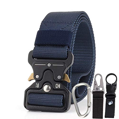 Tactical Belt for Men, Military Nylon Belt with Heavy-Duty Quick-Release Metal Buckle, Web Belt with Gift Buckles (Blue)