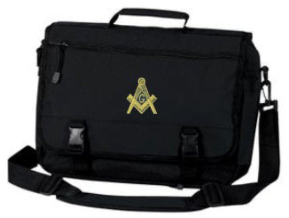 Masonic Briefcase with Gold Embroidered Design Black