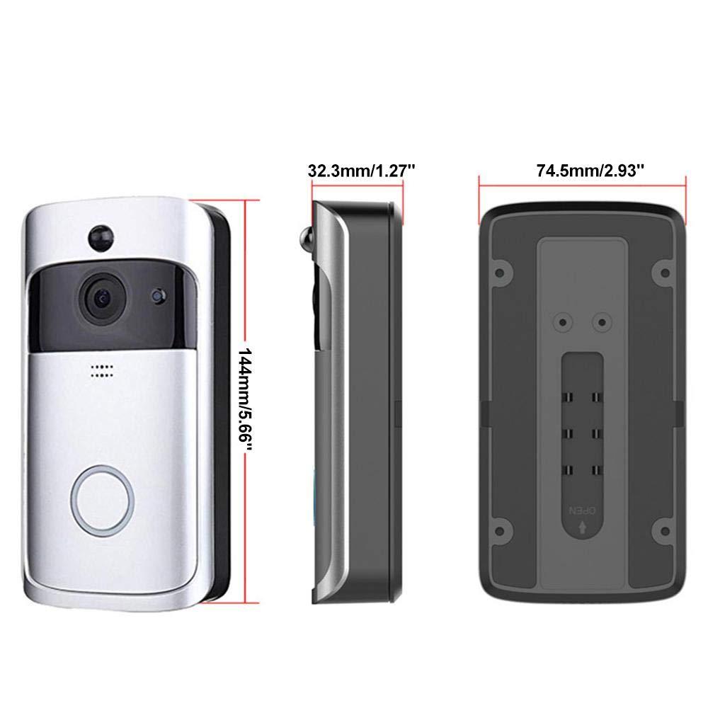 Android Kobwa WiFi Smart Sonnette Windows Argent Carillon vid/éo sans Fil HD 720p WiFi Camera vid/éo en Temps r/éel Audio Bidirectionnel Vision Nocturne D/étection de Mouvement Voleur Rappel iOS