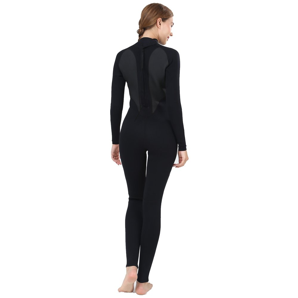 Realon Womens Wetsuit Full 3mm Neoprene Surfing Scuba Diving Snorkeling Swimming Suit (Black 3mm, M) by Realon (Image #3)