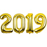 2019 Mirror Mylar Balloons for New Year Eve Party Decorations 40inch (Gold)