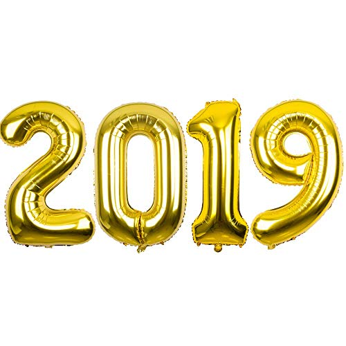 2019 Mirror Mylar Balloons for New Year Eve Party Decorations 40inch (Gold) -