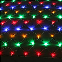 NETLT Led net light,string christmas lights,fairy net light,outdoor waterproof fishing net light-Colorful 1.5m*1.5m(59x59inch)