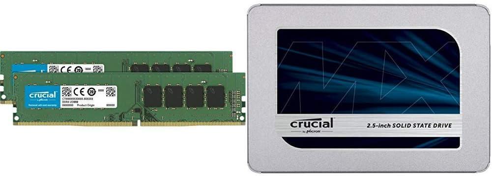 Crucial 32GB Kit (16GBx2) DDR4 2666 MT/s (PC4-21300) DR X8 DIMM 288-Pin Memory - CT2K16G4DFD8266 Bundle with Crucial MX500 1TB 3D NAND SATA 2.5 Inch Internal SSD - CT1000MX500SSD1(Z)