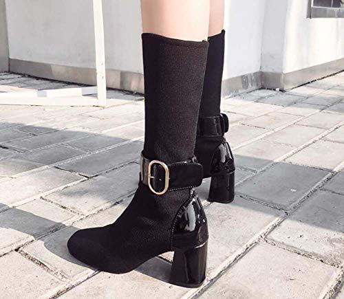 7Cm Black 34 Casual Belt Corte Eu Toe Square Fibbia Dimensioni Pure Donna Caviglia Scarpe Lana Color Stivaletto Elastico Tacco Stivali Chunkly 40 1qwHr1