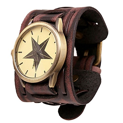 LANDFOX Retro Punk Rock Big Wide Leather Bracelet Cuff Star Watch Brown