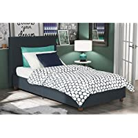 DHP Alexander Upholstered Bed with Clean Linen Headboard, Twin Size, Dark Blue