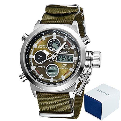Dual Sport Canvas (eYotto Men's Sports Digital Watches Nylon Canvas Strap Military Wrist Watch Quartz Analog Display 30M Waterproof Army Green)