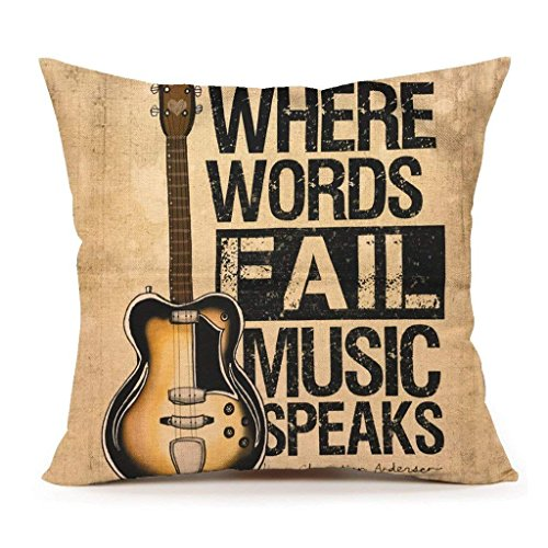 Acelive 16 x 16 Inches Short Plush Fall Music Speaks Quote Throw Pillow Cover for Sofa Halloween Christmas Thanksgiving Gift