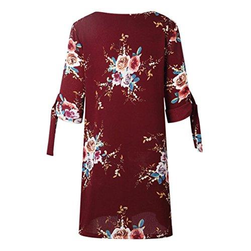 BohMe Robe Femme Robe Casual Rouge Cocktail Robe Mini VJGOAL LaChe Floral Jupe Manches Vin Mini Bowknot Courtes Imprimer Party Manches q45nwt