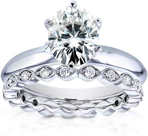 Kobelli Oval Moissanite Ring and Eternity Diamond Band 1 4/5 CTW 14k White Gold
