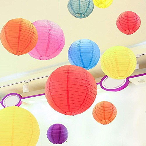 """LURICO 16 Pcs Colorful Paper Lanterns (Multicolor,Size of 4"""", 6"""", 8"""", 10"""") - Chinese/Japanese Paper Hanging Decorations Ball Lanterns Lamps for Home Decor, Parties, and Weddings by LURICO (Image #8)"""