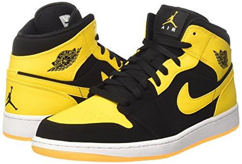 Nike Mens Air Jordan 1 Mid Basket Scarpa Nera Varsity Mais Bianco