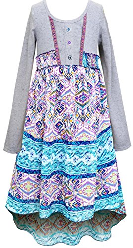 Smukke, Big Girls Long Sleeve Geo Print Hi Low Dress 7-16 (12, Grey (Dresses For Girls Size 7 8)
