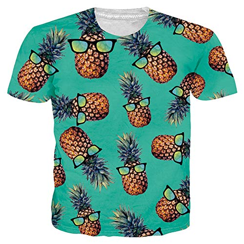 Leapparel Unisex Adult All-Over 3D Printed Tshirt Pineapple Glasses Funny Pattern Mens Short Sleeve Tees Round Neck Summer Casual Tshirts ()