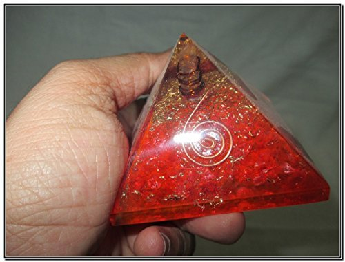 Jet International Red Chakra Orgone Pyramid Piezo Electric Effect Gemstone, Red