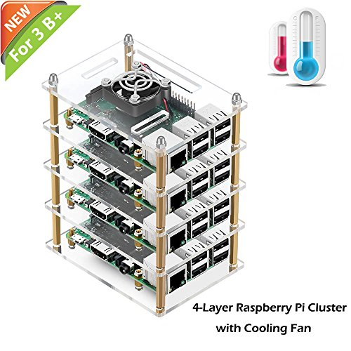 Cut Cluster Multi - iUniker Raspberry Pi Cluster Case, Raspberry Pi Case with Cooling Fan and Raspberry Pi Heatsink for Raspberry Pi 3 Model B+, Pi 3 B, Pi 2 B, Pi B+ (4-Layers)