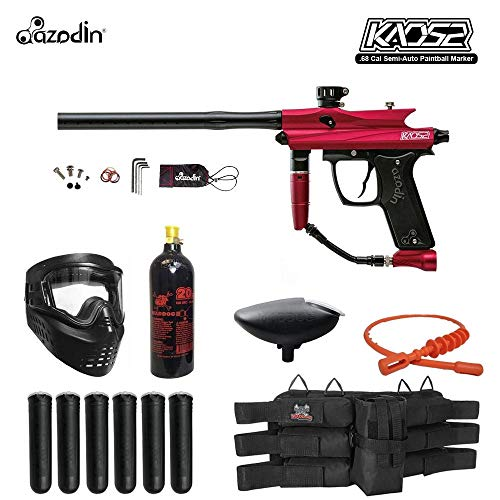 MAddog Azodin KAOS 2 Titanium Paintball Gun Package - Red/Black (Paintball Gun Double Barrel)