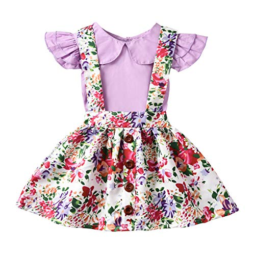 Toddler Suspender Skirt, Baby Girl Ruffle Floral Shirt Jumpsuit Suspenders Strap Skirt Overall Dress Outfits Set (Purple, 3-4Years)