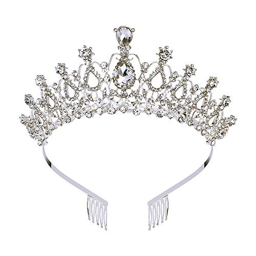 Makone Crystal Crowns and Tiaras with Tomb for Girl or Women Birthday Party Wedding Tiaras (Style-5) ()