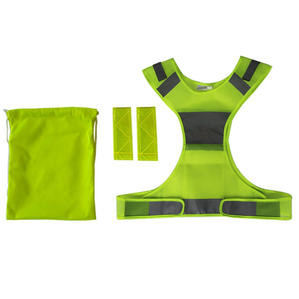 Fluorescent Reflective Vest For Running Or Cycling, Women And Men, With Inside Pocket, Armbands And Storage Bag, Gear For Jogging, Biking, Motorcycle, Walking At Night
