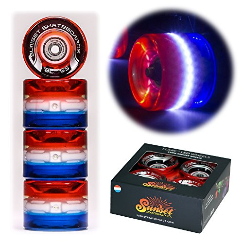 Sunset Skateboard Co. 59mm 78a LED Light-Up Cruiser Wheels (4-Pack) with ABEC-7 Carbon Steel Bearings for Glow-in-The-Dark, All Ages & Skill Levels Skating Fun with No Batteries Required (Merica)