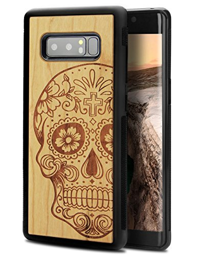 Rosewood Laser Pen (Note 8 Case Wood, Natural Real Wood Carving Skull Laser Mark Rosewood Slim Fashion Sugar Skull Covering Case for Samsung Galaxy Note 8)