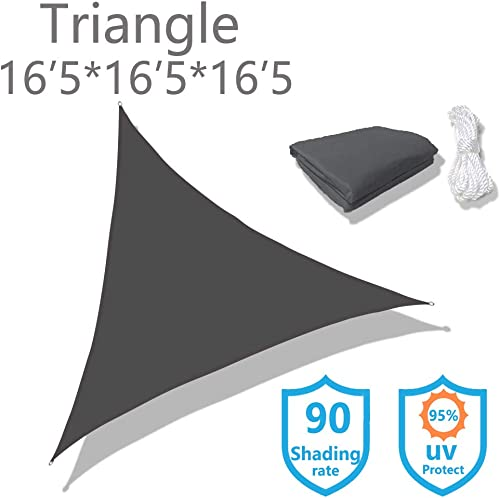 Sunnykud Triangle 16 5 x16 5 x16 5 Dark Gray Waterproof Sun Shade Sail Triangle Canopy Perfect for Outdoor Garden Patio Permeable UV Block Fabric Durable Outdoor