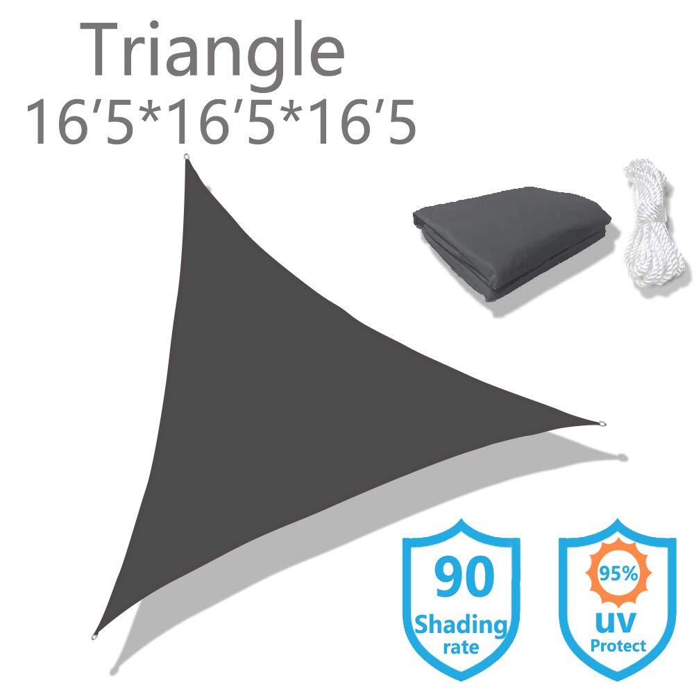 KUD Shade Triangle 16 5 x16 5 x16 5 Dark Gray Waterproof Sun Shade Sail Triangle Canopy Perfect for Outdoor Garden Patio Permeable UV Block Fabric Durable Outdoor