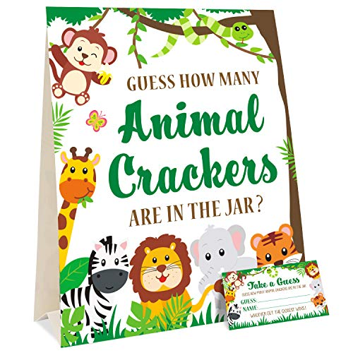 Guess How Many Animal Crackers Jungle Safari Baby Shower Game with Standing Sign and 30 Cards