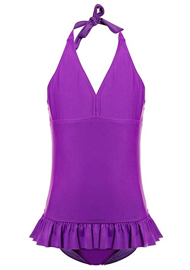 c162b4e30f3 Little Girls' One-Piece Bathing Suits Solid Purple Swim Dress Swimwear 6-6x