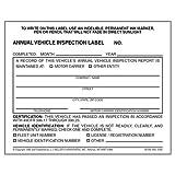 Annual Vehicle Inspection Label - Vinyl w/ Mylar Laminate (Qty: 50 Units)