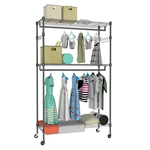 Kemanner Heavy Duty Clothing Garment Rack 3 Shelves Wire Shelving W/Double Rods & Lockable Wheels & 1 Pair Side Hooks - Hold Up to 400Lbs (Black)