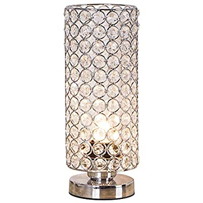 ZEEFO Crystal Table Lamp, Nightstand Decorative Room Desk Lamp, Night Light Lamp, Table Lamps for Bedroom, Living Room, Kitchen, Dining Room (Silver)