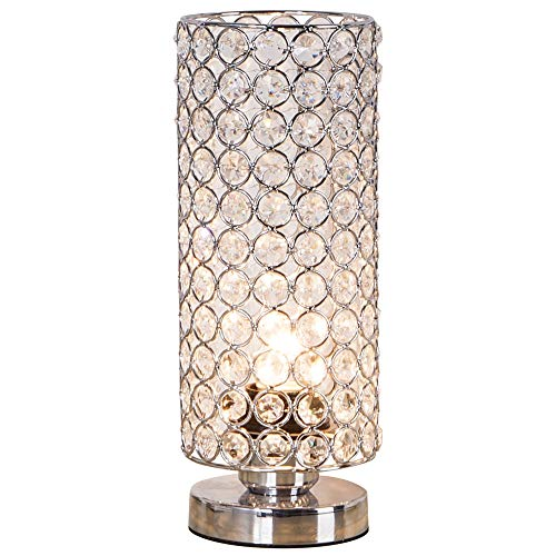 ZEEFO Crystal Table Lamp, Nightstand Decorative Room Desk Lamp, Night Light Lamp, Table Lamps for Bedroom, Living Room, Kitchen, Dining Room (Silver) (Peacock Metal Floor Lamp)