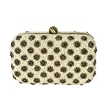 From St Xavier Daisy Beaded Box Clutch Evening Bag, Ivory Multi