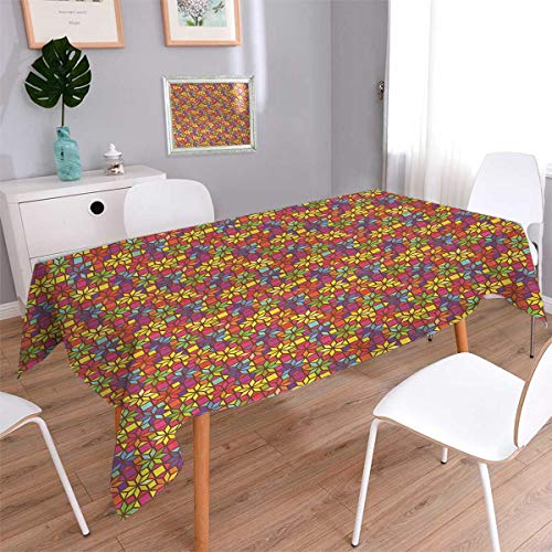 Anmaseven Colorful Square Rectangular Tablecloth Stained Glass Style Pattern with Flower Motifs Geometrical Star Shapes Mosaic Tile Oblong Wrinkle Resistant Tablecloth Multicolor Size: W54 x L54 ()