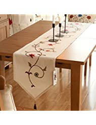 Ethomes floral embroidered linen cotton burlap beige 87 x 16 inches approx table runner with tassles