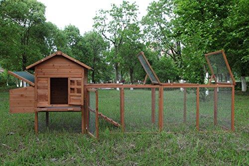 (ECOLINEAR 120'' Chicken Hutch w/Run Cage Outdoor Hen House Poultry Pet Wooden Coop Nest Box Garden Backyard)
