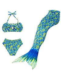 BESTYLING 3PCS Girls Mermaid Tail Swimsuit Princess Bikini Swimwear Set