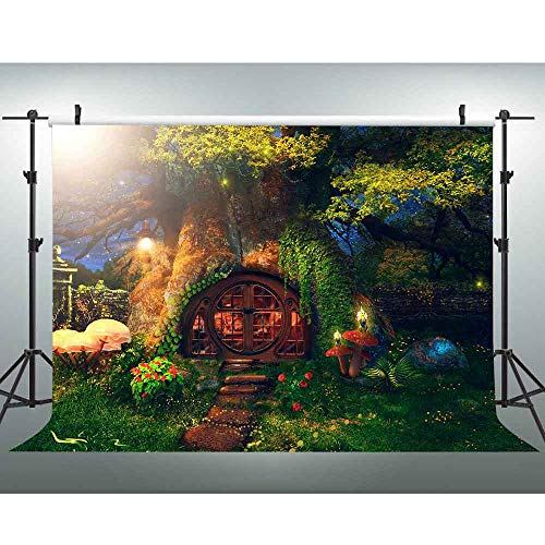VVM 7x5ft Fairytale Forest Backdrop Fantasy Garden Old Tree Mushroom Photography Background Alice in Wonderland Theme Birthday Party Decor MVV062