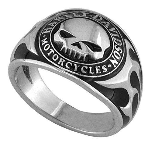 Harley-Davidson Men's Willie G Skull Flames Black Enamel Ring, HDR0143 (10) Flame Skull Ring